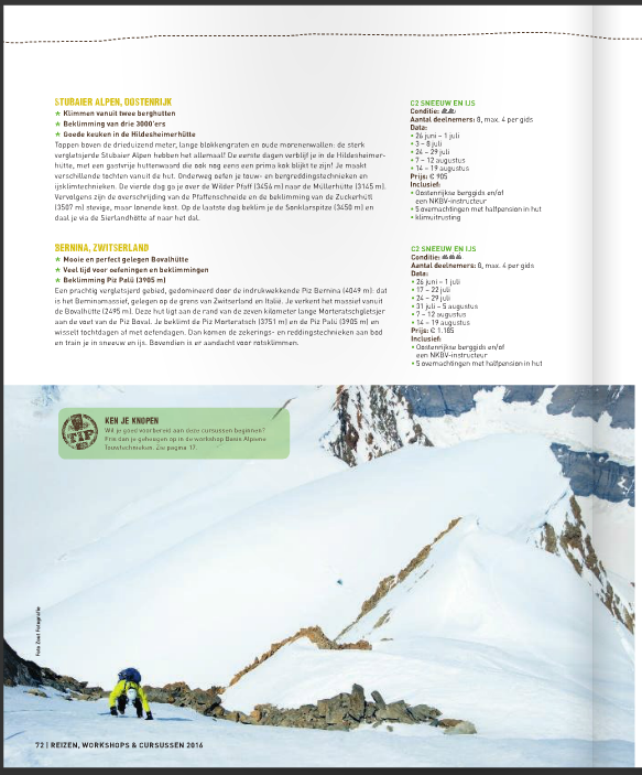 Bergsportreizen gids 2016 Zout Fotografie