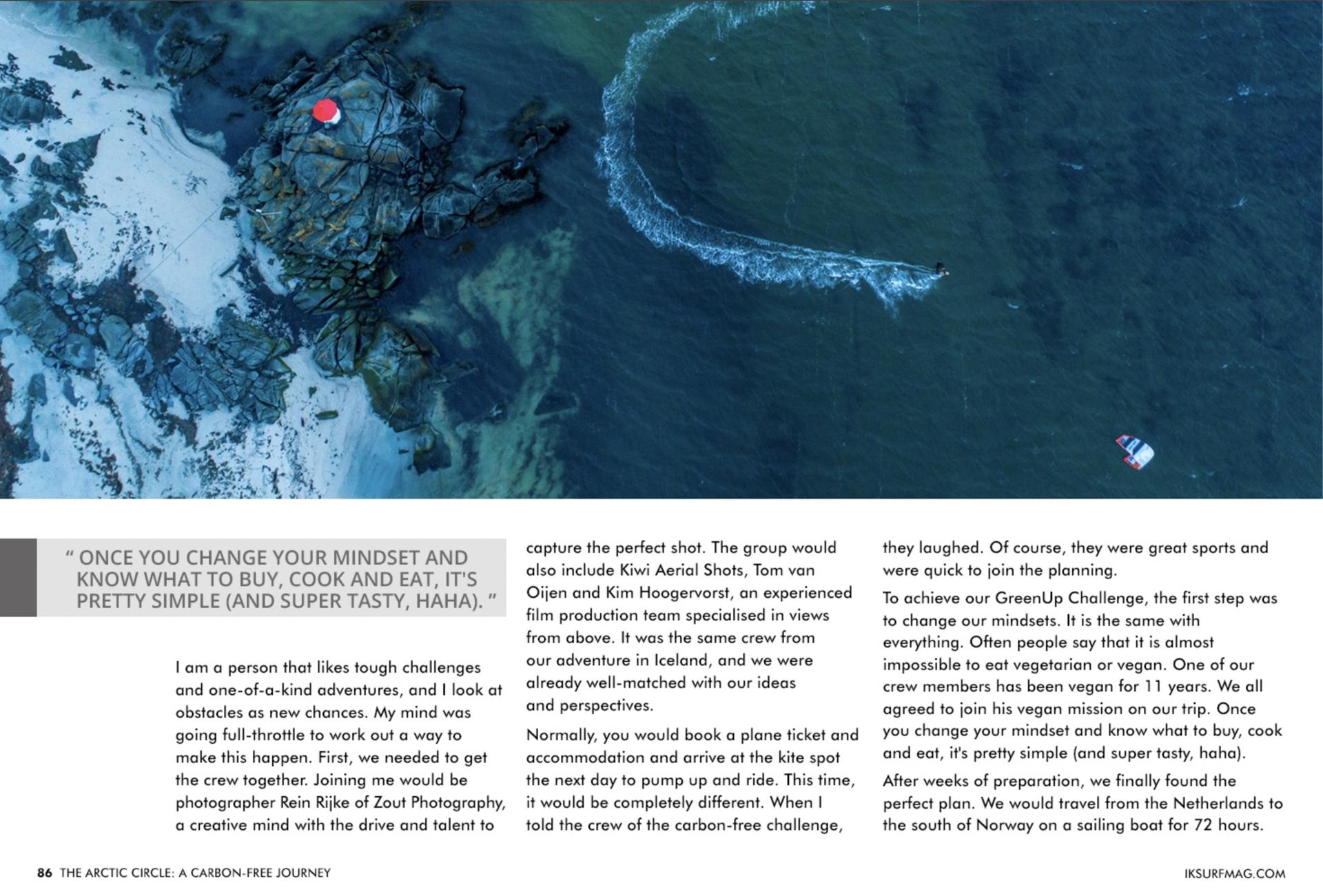 CO2 neutraal naar Noorwegen kitesurfen Noorderlicht Rein Rijke Roderick Pijls Zout Fotografie